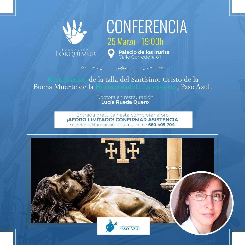 Lucía Rueda Quero, conferencia sobre la restauración de la talla del Santísimo Cristo de la Buena Muerte.